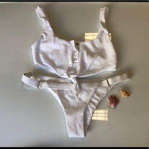Beach bunny white rib tie bikini size Small XS